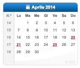 Calendario Anno 2014.Calendario Pasqua 2014 Pasquetta Ponti 25 Aprile 1 Maggio