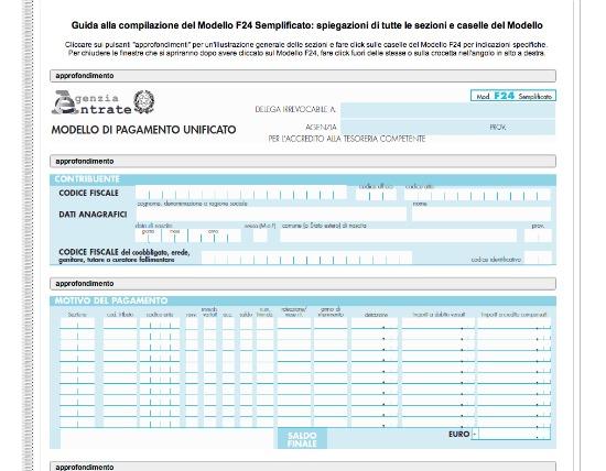 MODELLO F24 SEMPLIFICATO DA COMPILARE E SCARICARE