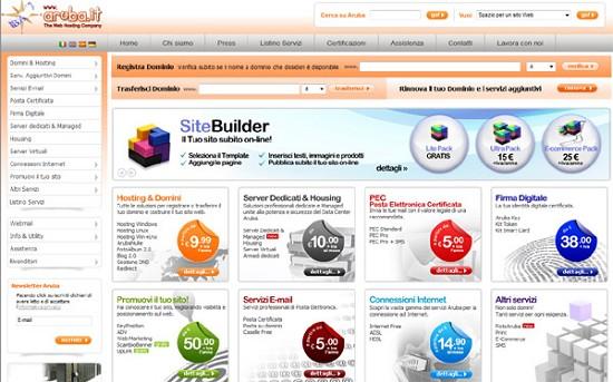 La Home Page del sito di Aruba
