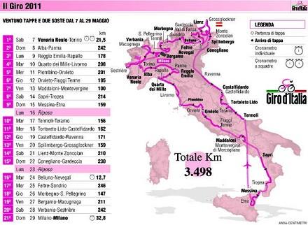 La mappa del Giro d'Italia 2011